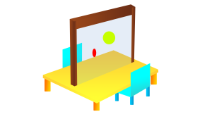 Possible setup of the Interactive Transparent Display in a primary school classroom